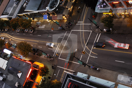 Vancouver Intersection stock photo, One of Vancouvers intersection at dusk, seen from above by Corepics VOF