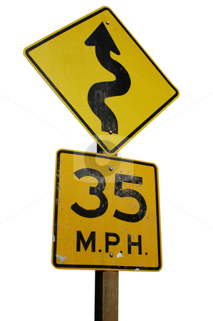 Winding road stock photo, Warning sign for a winding road ahead by Corepics VOF
