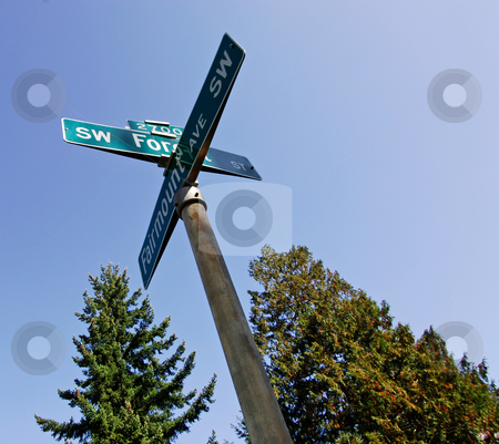 Suburban streets stock photo, A sign on an intersection, indicating two street names in the suburbs by Corepics VOF