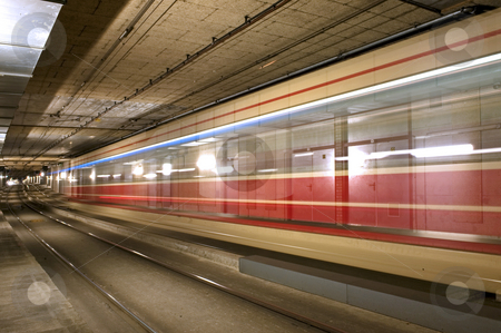 Tram tunnel stock photo, A tram disappearing into a tunnel by Corepics VOF