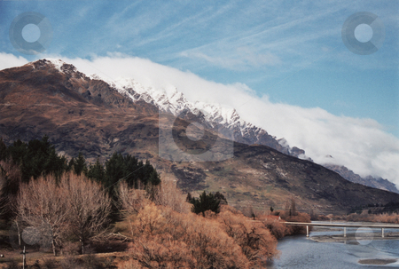 Precipitation stock photo, The view of the Remarkables, New Zealand, from the Shot-over bridge. by Stephen Kerin