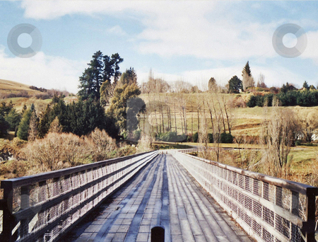 Bridge to Paradise stock photo, The view over the Shot-over river/bridge by Stephen Kerin