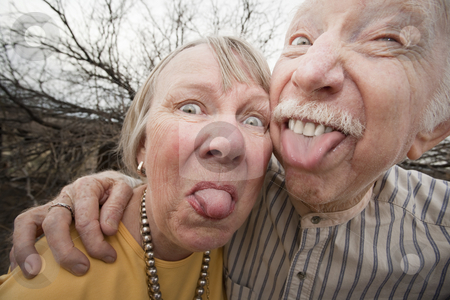 Crazy Couple Sticking Out Tongues stock photo, Closeup portrait of crazy elderly couple outdoors sticking out tongues by Scott Griessel