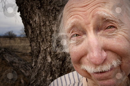 Senior Man Outside stock photo, Portrait of senior man outdoors in front of tree by Scott Griessel