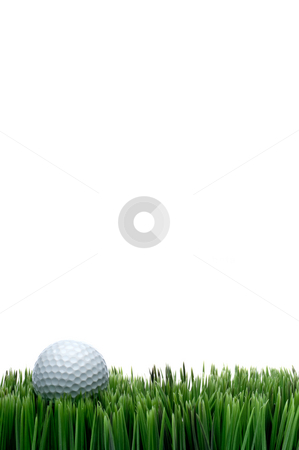 Vertical image of a white golf ball in green grass on a white ba stock photo, Vertical image of a white golf ball in green grass on a white background with space for copy by Vince Clements