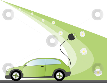 Electric Car illustration stock photo, Electric car illustration with environmental green concept by John Teeter