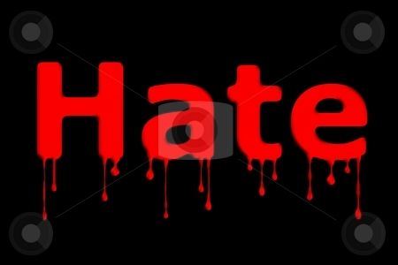 Hate Bllod Text Black stock photo, The word hate bloody on black background. by Henrik Lehnerer
