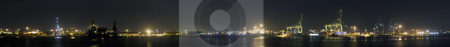 Rotterdam Harbor Panorama stock photo, A panoramic overview of the Rotterdam Harbor at night by Corepics VOF