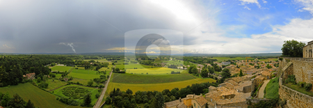 Weather change stock photo, The countryside of the Drome, Provence in France around Grignan, with a cold weather front with a thunderstorm moving in by Corepics VOF