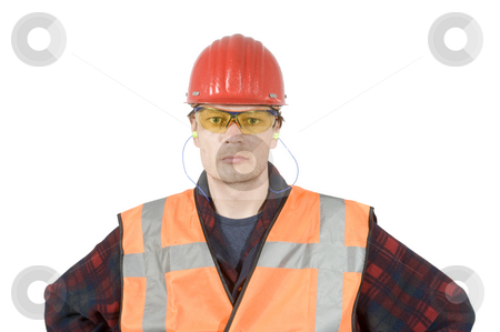 Protective workwear stock photo, A construction worker wearing protective work wear for safety by Corepics VOF
