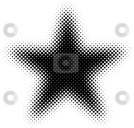 Halftone Star stock vector clipart, Black and White Halftone Star by Adrian Sawvel