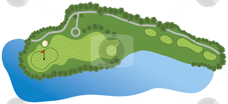 Golf Course Hole stock vector clipart, Golf Course Hole with bunker and water by Adrian Sawvel