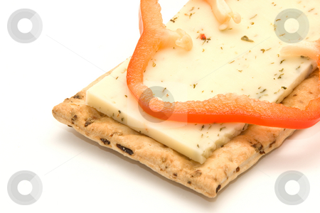 Cracker with cheese and pepper stock photo, Cracker with cheese and pepper by Andrey Butenko