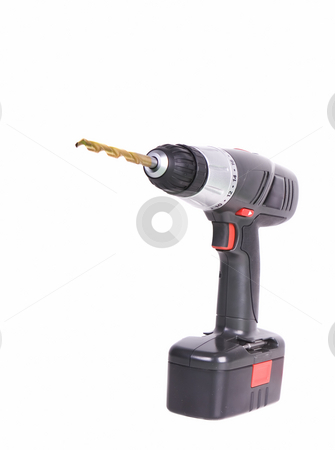 Isolated cordless drill stock photo, battery powered cordless drill with a white background by Steve Mcsweeny