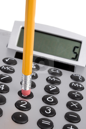 Calculator and pencil stock photo, Close-up of a calculator and a pencil (focus on pencil) by Steve Mcsweeny