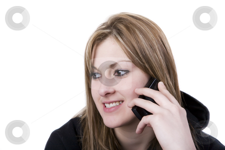 Conversation stock photo, A young female talking on a cellphone by Steve Mcsweeny