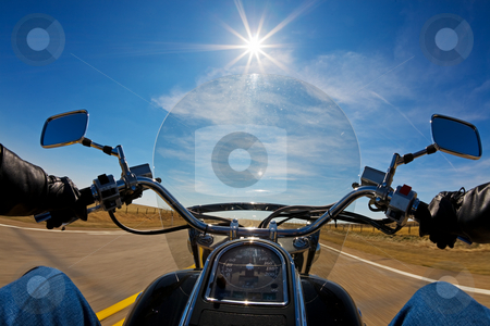 Bikers view stock photo, Biker enjoying a ride in the country side on a sunny day by Steve Mcsweeny
