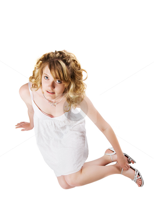 Woman in white stock photo, A Beautiful young woman in a white dress by Steve Mcsweeny