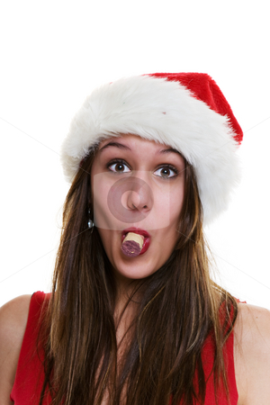 Corked stock photo, A woman in a santa hat with a cork in her mouth. (Put a cork in it) by Steve Mcsweeny