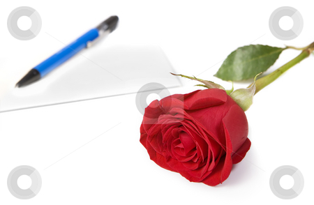 Love letters stock photo, Red rose with envelope and pen in background by Steve Mcsweeny