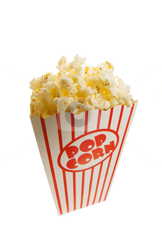 Classic popcorn stock photo, A tall classic box of theater popcorn closeup by Steve Mcsweeny