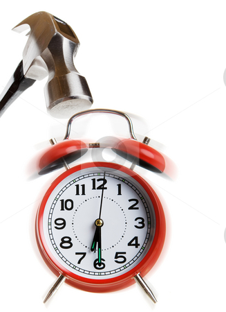 Hammer time stock photo, Hammer coming down on a ringing alarm clock by Steve Mcsweeny