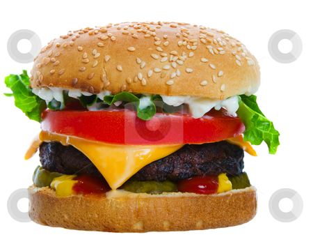 Cheeseburger loaded stock photo, A big and Juicy cheese burger on a white background by Steve Mcsweeny