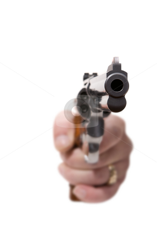 Dangerous times stock photo, Isolated gun being aimed at the viewer (shallow depth of field) by Steve Mcsweeny