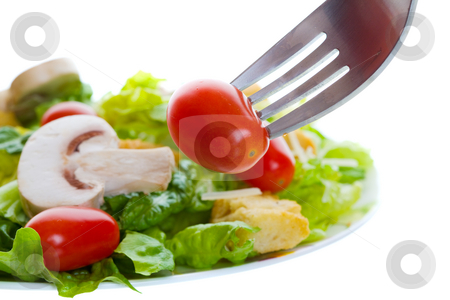 Healthy food stock photo, Healthy salad appetizer with a cherry tomato on a fork by Steve Mcsweeny