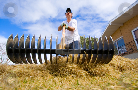 Yard work stock photo, A man doing some spring yard maintenance by Steve Mcsweeny