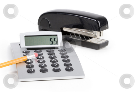 Office tools stock photo, Office tools, calculator and stapler over white by Steve Mcsweeny
