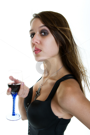 Woman with red wine stock photo, A beautiful woman  with a glass of red wine by Steve Mcsweeny