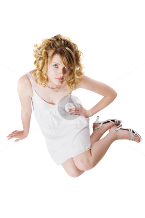 Lady in white stock photo, A Beautiful young woman in a white dress by Steve Mcsweeny