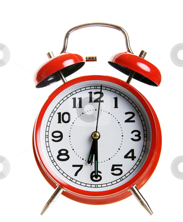 Red alarm clock stock photo, Closeup of a classic red alarm clock by Steve Mcsweeny