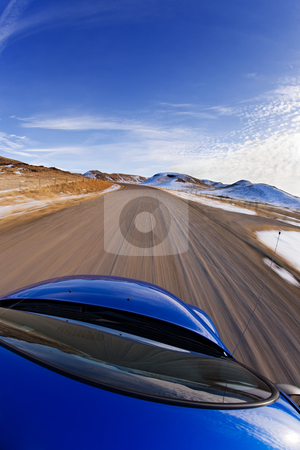 City escape stock photo, Driving the rural foothills, fisheye lens distortion on car by Steve Mcsweeny