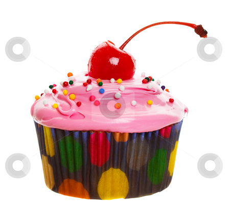 Pink cupcake stock photo, A colorful cupcake with a cherry on top by Steve Mcsweeny