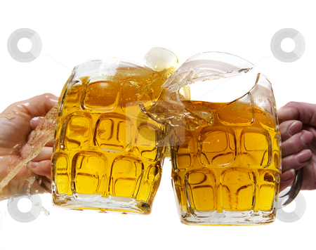 Rowdy cheer stock photo, Two people aggressively toasting with beer and breaking a mug by Steve Mcsweeny