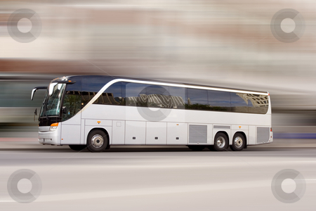 Bus travel stock photo, Tour bus with added motion blur by Steve Mcsweeny