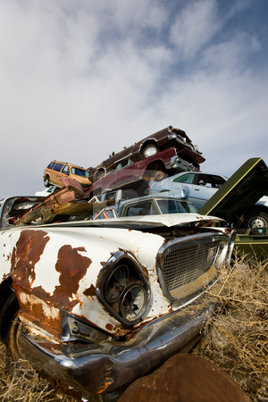 Discarded stock photo, A pile of abandoned automobiles in a junk yard by Steve Mcsweeny