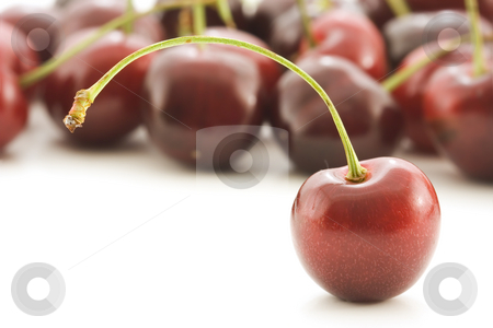 Cherry stand stock photo, Single cherry stands out from the rest by Steve Mcsweeny