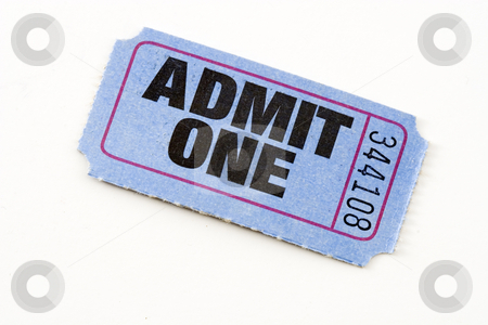 Admit ticket stock photo, Blue admit one ticket, isolated. by Steve Mcsweeny