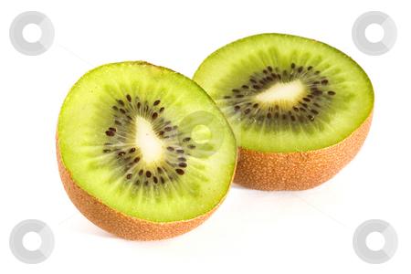 Kiwi slices stock photo, Kiwi fruit slices on a white background by Steve Mcsweeny