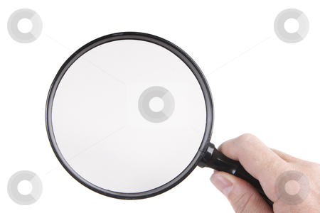 Magnifying glass stock photo, Holding a magnifying glass on a white background by Steve Mcsweeny