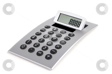 Calculator stock photo, Silver calculator close-up on a white background by Steve Mcsweeny