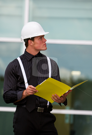 Inspector stock photo, A young building inspector at the work site by Steve Mcsweeny