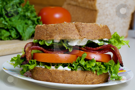 BLT sandwich  stock photo, A close up shot of a homemade BLT sandwich by Steve Mcsweeny