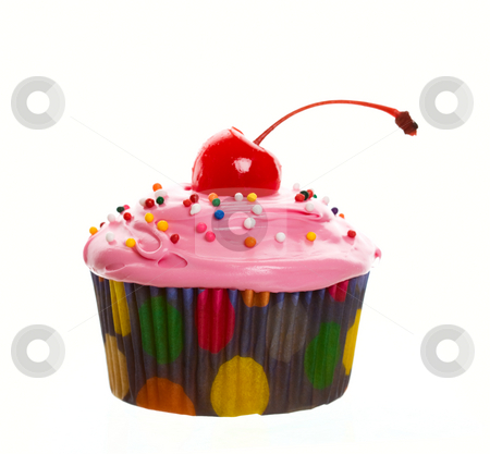 Pink Cherry Cupcake stock photo, Delectable pink cupcake topped with a cherry and multi-colored sprinkles.  Shot on white background. by Brenda Carson