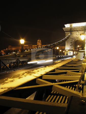 Budapest Chain Bridge stock photo, Budapest Chain Bridge at night with royal palace in the background by Alessandro Rizzolli