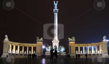 Heroes square in Budapest at night stock photo, A view of the monument of Heroes square in Budapest at night by Alessandro Rizzolli