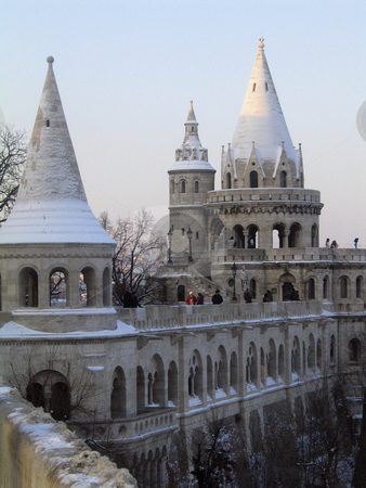 Fishermen's Bastion stock photo, Towers of Fishermen's bastion, on the hill of Buda by Alessandro Rizzolli